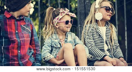Group of Kids Fashionable Cute Adorable Concept