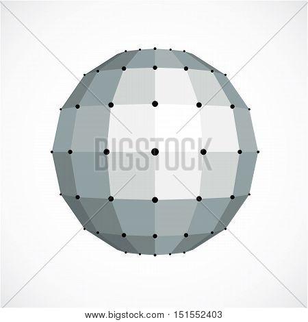Monochrome Dimensional Vector Low Poly Object, Trigonometry Shape. Technology 3D Spherical Element M