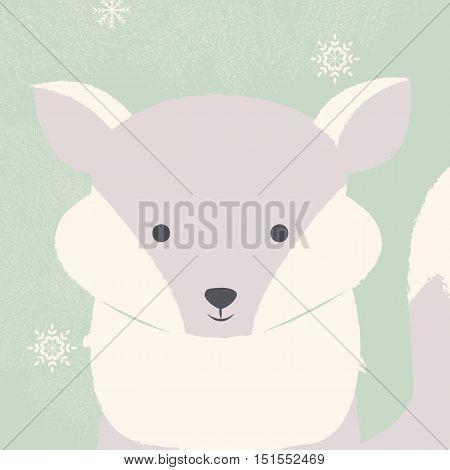 Cute polar white baby fox on green Christmas background vector illustration