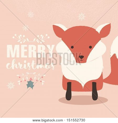 Merry Christmas lettering postcard with cute orange baby fox vector illustration