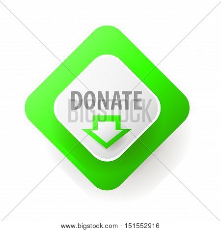 Donate button. Web button for charity. icons donation gift charity, money giving. Modern UI button isolated on white background.