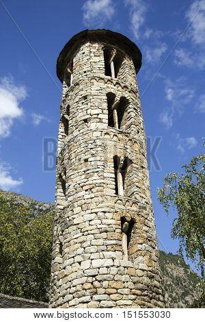 Santa Coloma church of pre-Romanesque structure at Andorra. The cultural landscape of Madriu-Perafita-Claror Valley is UNESCO World Heritage Site