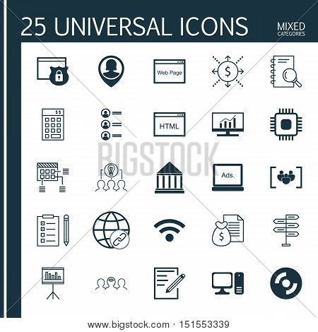 Set Of 25 Universal Icons On Wireless, Collaborative Solution, Blank Cd And More Topics. Vector Icon