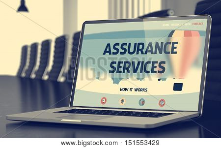 Closeup Assurance Services Concept on Landing Page of Mobile Computer Display in Modern Meeting Hall. Blurred. Toned Image. 3D.