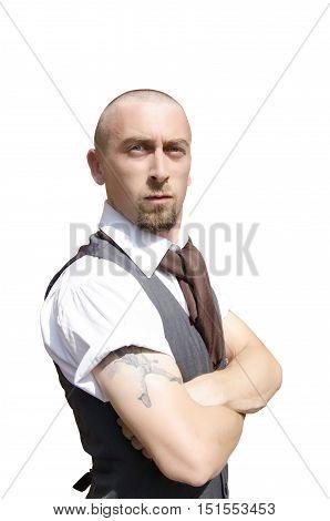 Bald bearded man on isolated white background