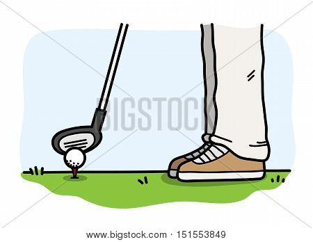 Playing Golf. A hand drawn vector cartoon illustration of someone playing golf.
