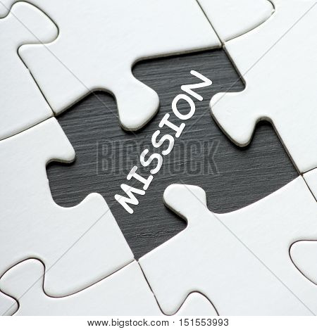 The word Mission revealed by removing a piece from a jigsaw puzzle as a reminder to set out your business objectives