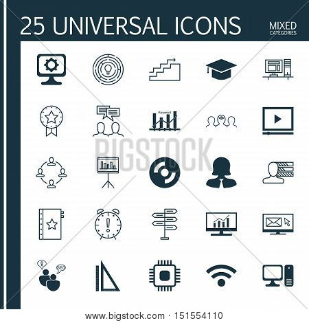 Set Of 25 Universal Icons On Business Woman, Keyword Optimisation, Innovation And More Topics. Vecto