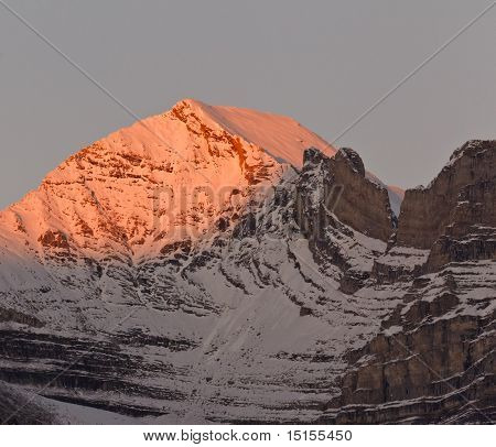 Beautiful Alpenglow In The Canadian Rockies, Canada