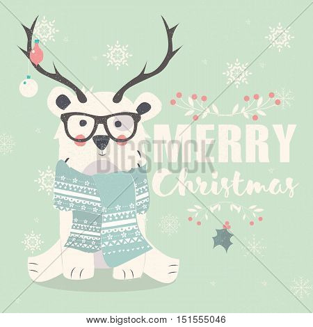 Merry Christmas postcard hipster polar bear wearing glasses and antlers vector illustration