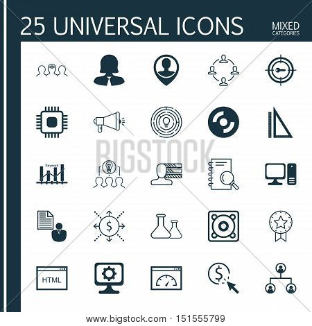 Set Of 25 Universal Icons On Personal Skills, Tree Structure, Keyword Optimisation And More Topics.