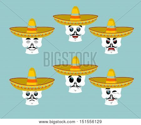 Skeletons And Sombrero Set For Day Of The Dead. Multi-colored Skull In Mexican Hat. Emblem For Natio