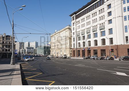 Moscow, Russia- 21.09.2015. General view and the traffic on the Theatre Street