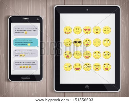 Emoticon set with realistic Phone and Tablet PC. Emoticon for web site, chat, sms. Modern flat design. Vector illustration