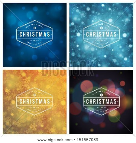 Christmas Typography Greeting Cards Design Set. Merry Christmas and Holidays wishes retro style decoration. Christmas lights and Snowflakes Backgrounds. Vector illustration EPS 10.