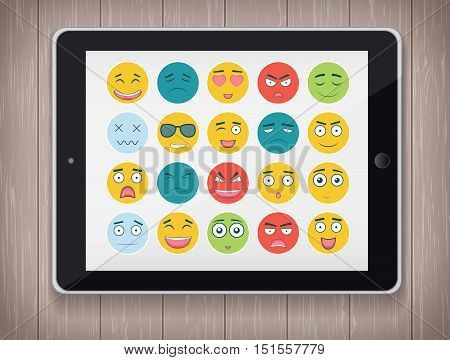 Emoticon set with realistic Tablet PC. Emoticon for web site, chat, sms. Modern flat design. Vector illustration