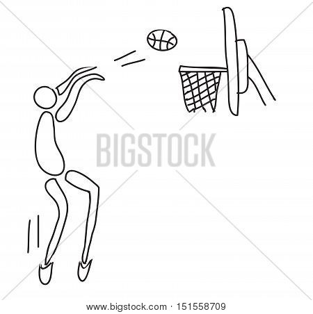 Playing Basketball, a hand drawn vector doodle illustration of an athlete playing basketball.
