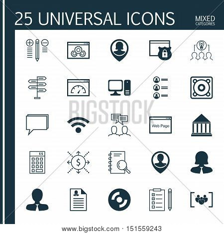 Set Of 25 Universal Icons On Pin Employee, Female Application, Opportunity And More Topics. Vector I