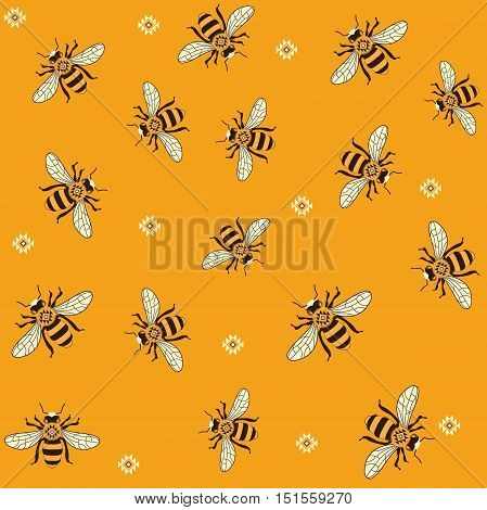 Seamless vector pattern with honey bees. Bee pattern printable. Honey bee pattern.