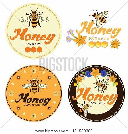 Honey label with bees advertisement vector illustration. Bee honey natural organic products colored label set. Honey label templates.