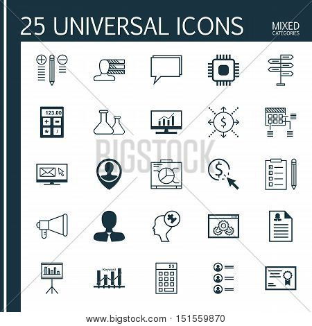Set Of 25 Universal Icons On Manager, Female Application, Chemical And More Topics. Vector Icon Set