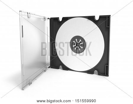 3D Cd Cover Open On White Background