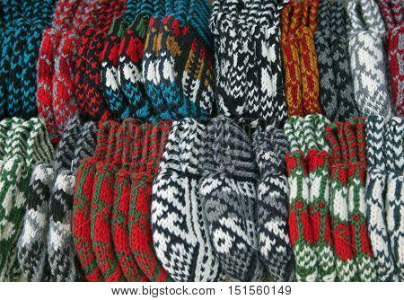 Street market with knitted slippers, Khiva, Uzbekistan