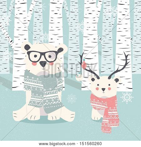 Merry Christmas postcard with two polar white bears in forest vector illustration