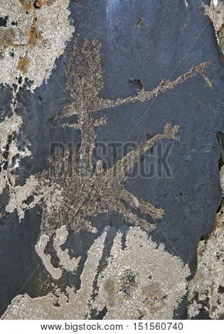 Ancient petroglyph carved in rock, Sarmishsay, Uzbekistan