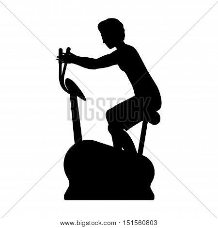 silhouette with man static bicycle vector illustration