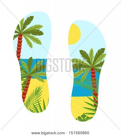 vector illustration shoe sole with a sea view