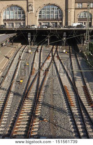 Rail Tracks In Depot.