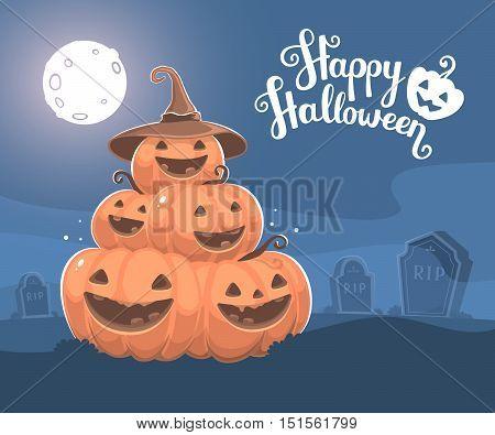Vector Halloween Illustration Of Pile Of Decorative Orange Pumpkins With Hat, Eyes, Smiles, Full Moo