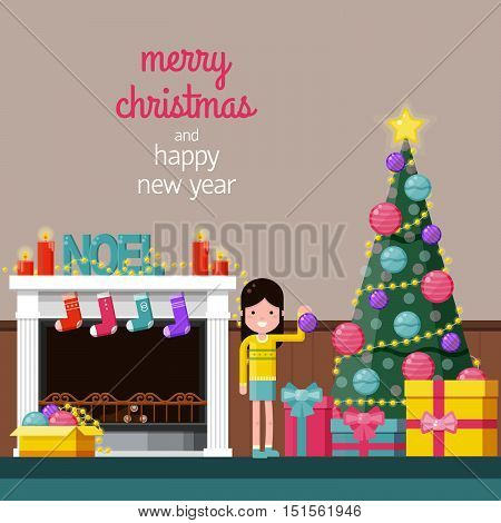 Happy girl decorating the Christmas tree near a fireplace at home. Color flat vector illustration. Xmas background with space for text.