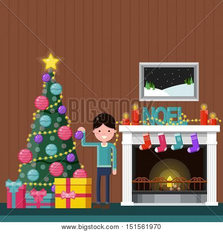 Happy boy decorating the Christmas tree near a fireplace at home. Color flat vector illustration.