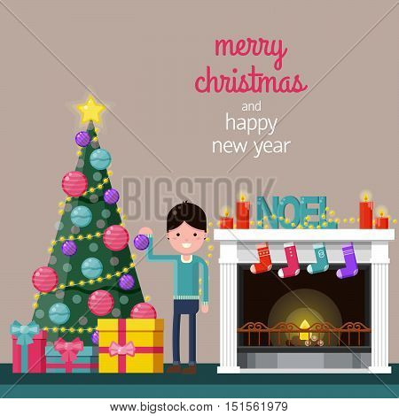 Happy boy decorating the Christmas tree near a fireplace at home. Color flat vector illustration. Xmas background with space for text.