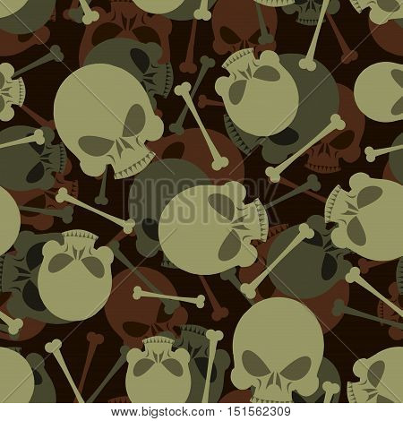 Skull And Bones Military Pattern. Skeleton Army Ornament. Death Camouflage Texture