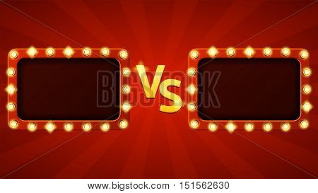 Versus letters fight background. Vector illustration with glowing lamps. Decorative banner with shining lights in vintage style.