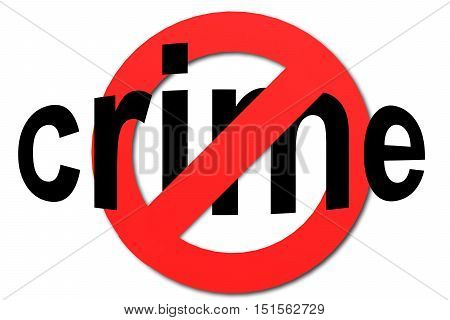 Stop Crime Sign In Red