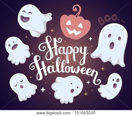 Vector Halloween Illustration Of Many White Flying Ghosts With Eyes, Mouths On Dark Background With
