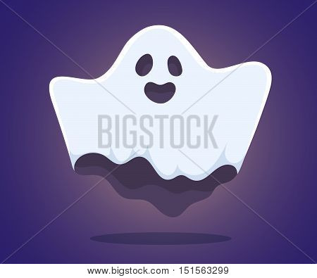Vector Halloween Illustration Of White Flying Ghost With Eyes, Mouth, Hands On Dark Blue Gradient Ba