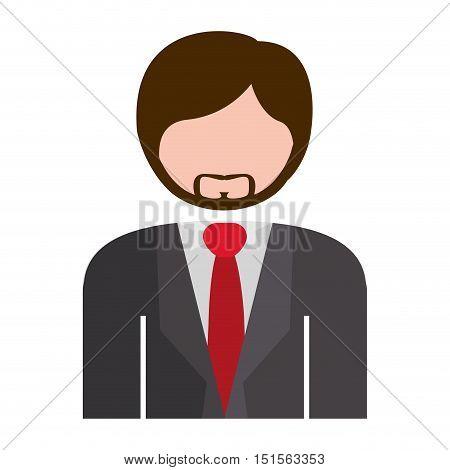 half body man formal suit gray vector illustration