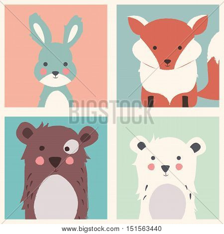 Collection of cute forest and polar animals with baby cubs including bear fox and rabbit vector illustration