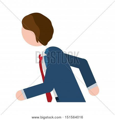 half body man formal suit blue with quickly vector illustration