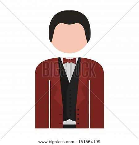 half body man formal suit bowtie vector illustration