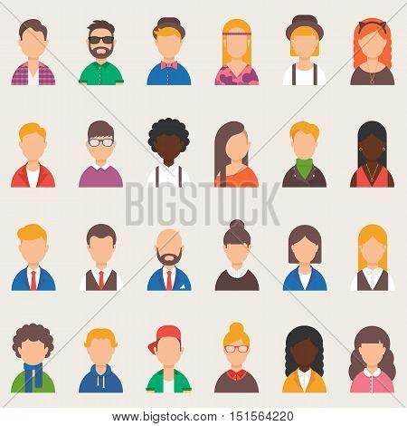 Set of vector avatars, people. Vector illustration, flat style