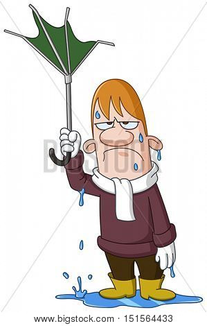 Depressed wet man holding a broken turned up umbrella by the wind
