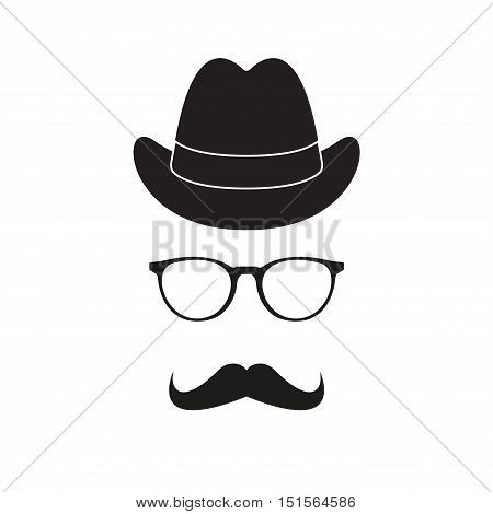 Old fashioned gentleman accessories icons set: hat, glasses and mustache. Retro hipster style. Vector illustration.