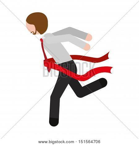 man formal suit finish line vector illustration
