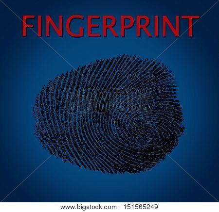 Fingerprint on blue background. Individuality concept.